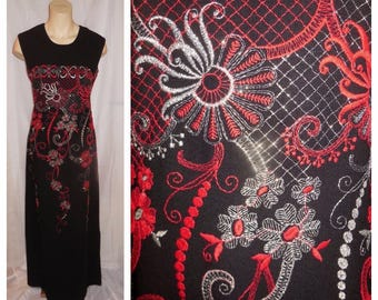 Vintage Embroidered Wool Dress 1960s 70s Long Black Dress Maxidress Red Gold Metallic Embroidery Boho Glamour M L chest to 39 in