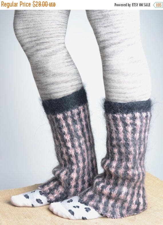 ON SALE Mohair Wool Leg Warmers - Hand Felted Leg Warmers - Upcycled Leg Warmers - OOAK