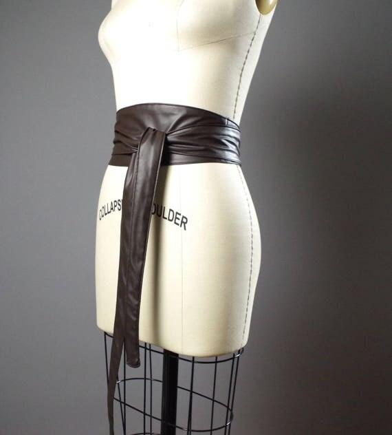Vegan Leather Obi Belt - Brown Leather Obi Belt - Women's Wrap Belt - Double Wrap Obi Belt