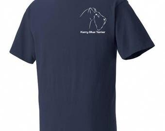 Kerry Blue Terrier Garment Dyed Cotton T-shirt