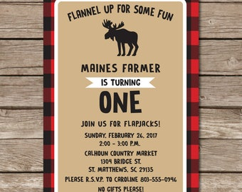 First Birthday Party Invitation Little Boy Flannel Moose Rustic One Party Digital File Print Printable