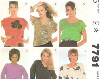 McCall's 7791 Make It Tonight Sewing Pattern, Misses Tops, Sizes 6-8 & 10-12, UNCUT