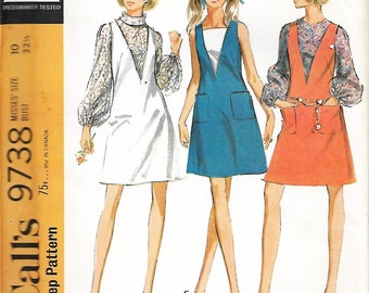 McCall's 9738 Misses V Front Dress Or Jumper And Blouse Sewing Pattern, Size 10, Bust 32 1/2, UNCUT
