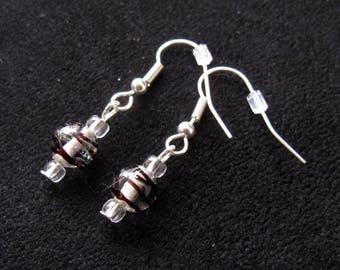 Black Striped Glass Earrings