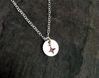 Minimalist compass charm necklace sterling silver - let your heart be your guide