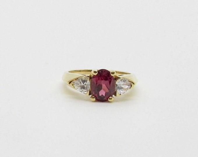 Yellow Gold Garnet Ring, Rhodolite Garnet Ring, Vintage Garnet Ring, January Birthstone, Birthstone Ring, Cubic Zirconia Ring, CZ and Garnet