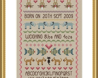 Baby Girl Birth Sampler Cross Stitch FULL KIT