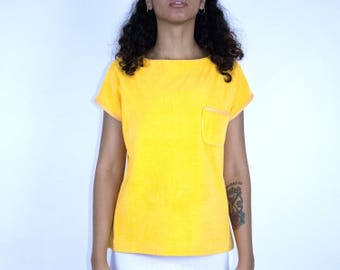 Yellow Terry Cloth Top - Shirt Blouse Swim Suit Cover Terrycloth Vintage Summer Batwing Small Medium Stretch 1980s Art Hipster Mod Pocket