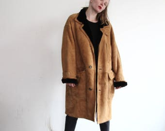 60s suede fur coat