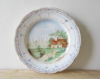 Antique french porcelain plate, Fine china 1800s, Vieux Paris, Porcelaine de Paris, Hand painted, France, Vintage