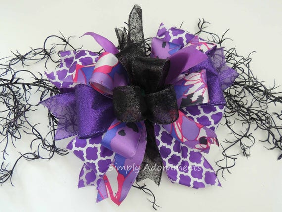 Funky Purple Black Halloween Bow Purple Halloween Wreath Bow Halloween Lantern Bow Halloween Swag Door Bow Purple Halloween Party Decor