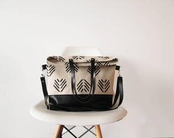 Fold over Tote Bag, Canvas bag, Tote bag, Shoulder bag, Crossbody tote, Back to school bag, Geometric print
