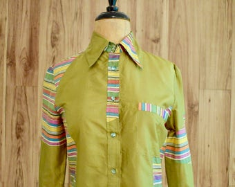 1990s Etro Milano Chartreuse & Rainbow Blouse, Nineties Silk Long Sleeve Top, 70s Seventies Inspired Long Collar Green Blouse