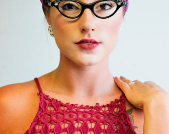 Eye Glass Vintage 1960's Cat eye Frames New Old Stock Made In USA Ebony Color Glasses Rockabilly Pin up