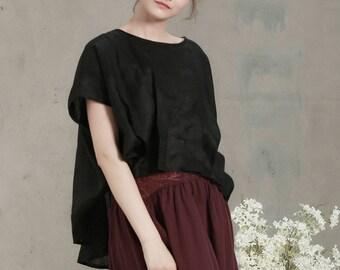 black linen shirt tunic top, pleated top, peasant blouse, black linen top, short front long back top, oversized shirt, linen shirt tunic