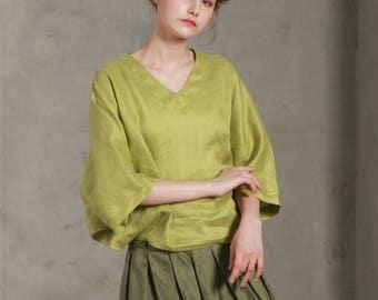 linen tunic bishop sleeves in lime green, loose fitting linen top, V neck linen top, linen shirt, kimono shirt, plus size custom