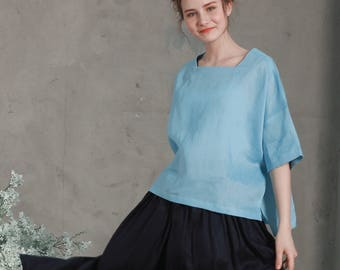 linen shirt blouse in sky blue, square neckline top, half sleeve tunic, linen tunic, summer tunic shirt top, loose fitting top, blue shirt