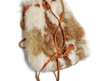 RABBIT FUR Purse Pouch Large Vintage Shoulder Medicine Bag Leather Strap Handle, Real Natural Organic Hare Hair Pouch