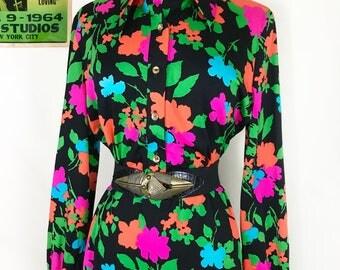Vintage pop art print dress, 1960s bishop sleeve dress, Andy Warhol print, retro 60s collared midi dress, day glo floral dress, LBD
