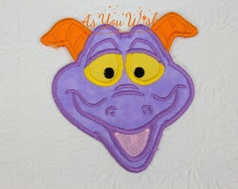 Figment Imagination Dragon inspired iron on or sew on patch
