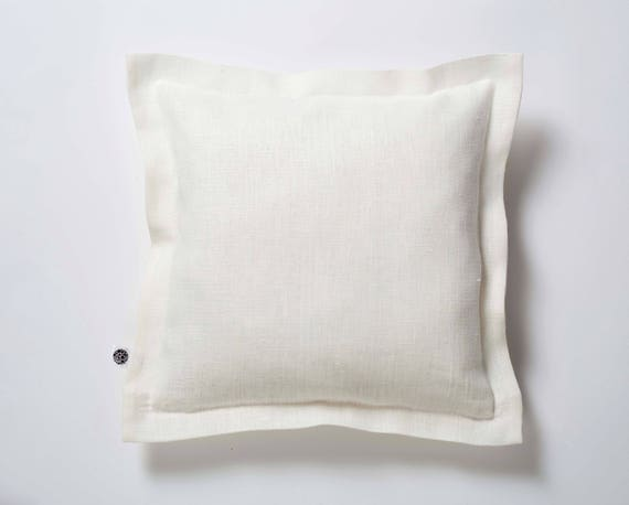 White pillow cover - off white decorative pillows, linen euro sham, shabby chic bedding, white euro sham, minimal throw, euro sham  0389