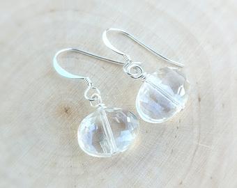 Quartz Earrings, Clear Crystal Quartz Earrings, Crystal Quartz Jewelry, Sterling Silver Earrings