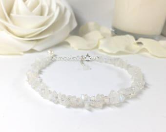 Rainbow Moonstone Bracelet, Sterling Silver, June Birthstone, Gift for Her, Raw Moonstone, Dainty Bracelet, Gift for Him, Christmas Gift