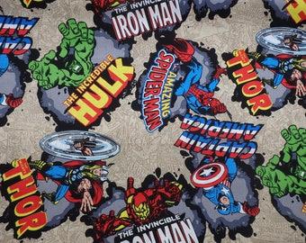 Marvel Comics Fabric, Marvel Comic Burst, Captain America, Incredible Hulk, Thor, Iron Man, Avengers, Quilting Cotton, By the Half Yard