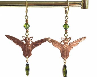 Beautiful Olive Green and Copper Art Nouveau Winged Creature Earrings Classic Egyptian Revival
