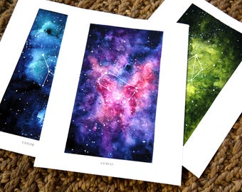 8x10 Custom Constellation Print, Zodiac Sign, Watercolor Print, Wall Art, Galaxy, Stars, Astrology, Astronomy, Gift, Giclee