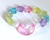 Luna - Pink Moon Stretch Bracelet with Pastel Rainbow Glitter Stas and Iridescent Pearl Beads