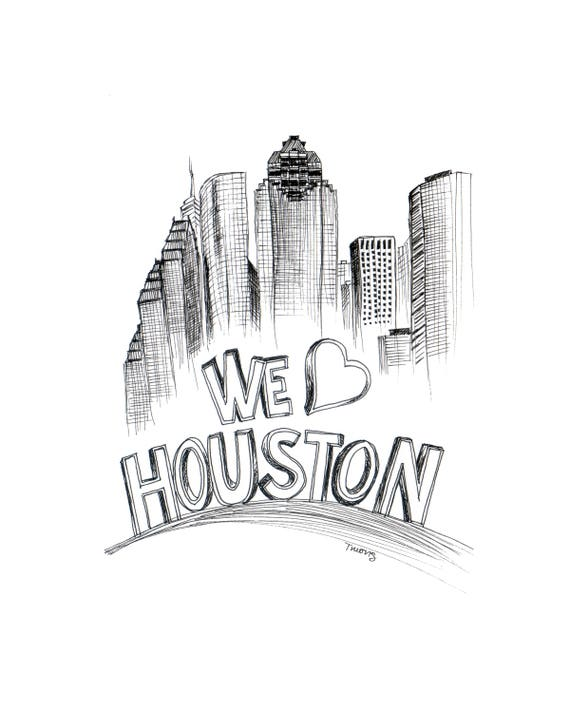 Houston Skyline Illustration - We Heart Houston, 6x9, 9x12, 11x14, Downtown Houston Art Illustration, Houston Pride, Black Ink Line Drawing
