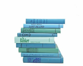 BLue Green Ocean Books, Decorative Books, Rustic Book stack, Antique BOoks Set, Book Decor, Farmhouse CHic, Old  Book Collection