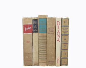 Antique Ecru Brown Decorative Books, Shabby Chic Book Decor, Rustic Book Collection, fixer upper Book Stack, Old Books, farmhouse decor