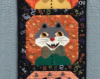 Wool Applique PATTERN - Scary Kats - Wall Hanging Home Decor