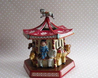 Vintage Boxed Villeroy & Boch Porcelain Christmas Doll Carousel Circus Animal Merry Go Round Tea Light Candle Holder