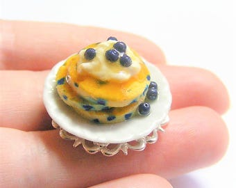 Food Jewelry Blueberry Pancake Ring, Miniature Food Jewellery, Pancake Jewelry, Mini Food Dollhouse Food Blueberry Ring Kawaii Pancake Charm
