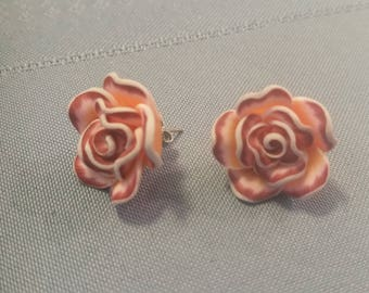 Pink Flower Post Earrings