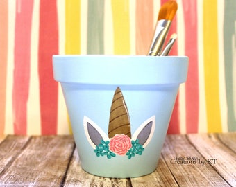 Unicorn Horn Floral Flower Pot Makeup Brush Holder READY TO SHIP Makeup Brush Organizer Hand Painted Succulent Planter Pencil Holder