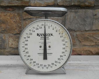 Vintage Hanson Scale Extra Large Model 2060 Utility Scale 60 Pounds Rustic Farmhouse Industrial Metal Photo Prop Kitchen Northbrook, Ill.