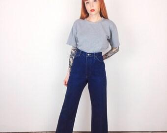 Vintage LEE High Waisted Dark Wash Denim Ankle Crop Kick Flare Jeans // Women's size 28 29 8 9