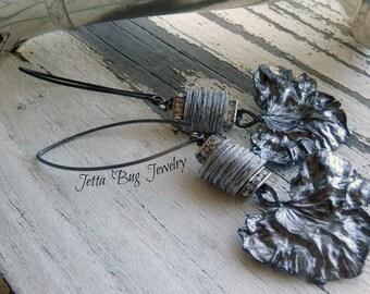 Lettuce Leaves- vintage elegance gray rhinestone earrings. mica heishis. rustic long vintage assemblage earrings.  Jettabugjewelry