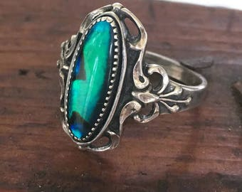 Vintage Wheeler Paua Shell  Art Deco Sterling Silver Ring Bows and Filigree Size 9.5 Abalone Shell