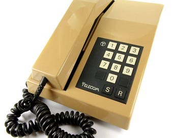 The Rhapsody Vintage 1980s Push Button Telephone with Bell Ring