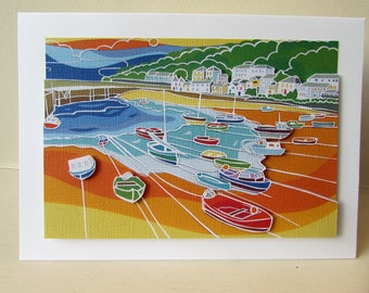 Seaside Card, greeting card, cornwall card, nautical card, card with harbour in, boat card, birthday card, card for men, blank card,