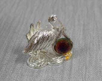 Tiny Cut Glass Crystal Stork Ornament with Silver Metallic Details and Crystal Ball