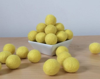 Felt Balls: YELLOW, Felted Balls, DIY Garland Kit, Wool Felt Balls, Felt Pom Pom, Handmade Felt Balls, Yellow Felt Balls, Yellow Pom Poms