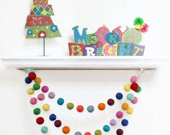 Rainbow Christmas Felt Ball Garland, Pom Pom Garland, Nursery Decor, Bunting Banner, Party Decor, Holiday, Christmas, Winter Decor