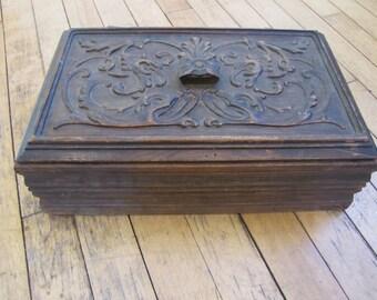 1920's Bible Box, Carved Walnut, Bible Box, Trinket Box, Box, Wood, Walnut, Hinged Box, Lidded Box, 1930's, 1920's, Ornate, Carved