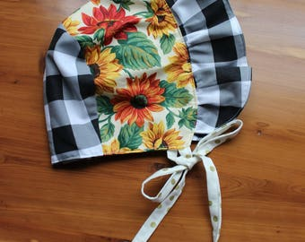 Sunbonnet, bonnet , fall baby girls sun hat, sunflower, size 18 months to 3 years, black gingham, one of a kind, ready to ship sunbonnet